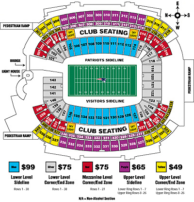 Gillette stadium seating chart new england patriots seating char
